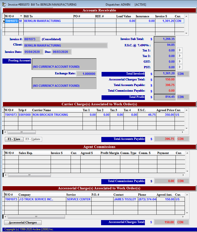 Invoice Screenshot